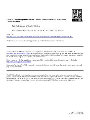 Effect of Eliminating Subterranean Termites on the Growth of ... - IEB