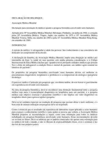 DECLARAÇÃO DE HELSINQUE Associação Médica Mundial ...