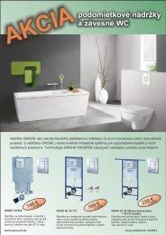 AKCIA podomietkové nádržky a závesné WC - Aqua art
