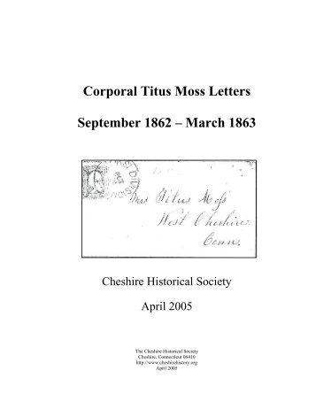 Corporal Titus Moss Letters - Cheshire Historical Society