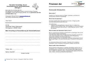 Finanzen der - Gemeinde Trebur