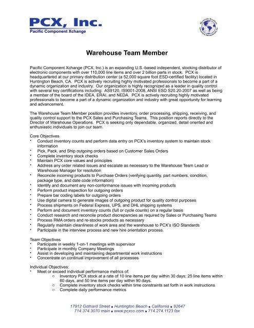 Complete Job Description PDF - Pacific Component Xchange
