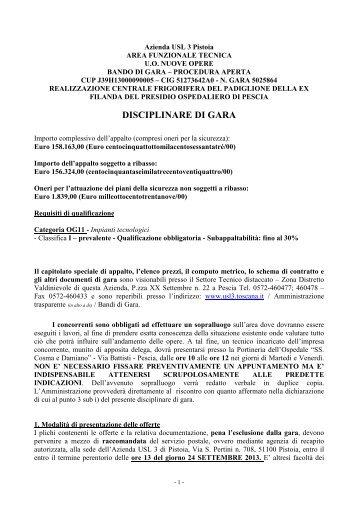 DISCIPLINARE DI GARA - Azienda USL 3 Pistoia