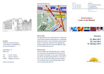 Laser in der Medizin Termine: 23. März 2011 29. Juni 2011 19 ... - ILM