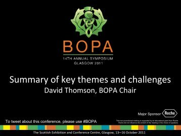 Summary of key themes and challenges - BOPA