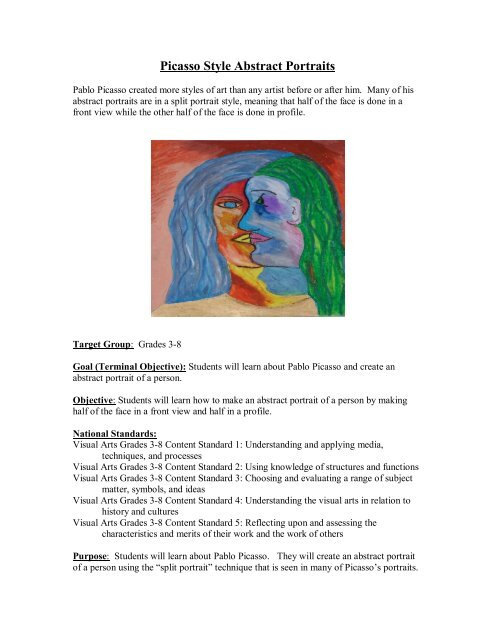 Picasso Style Abstract Portraits Sargent Art
