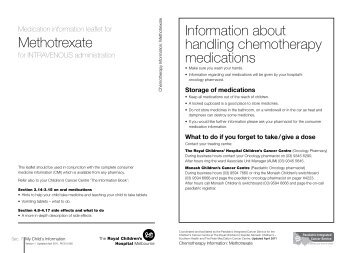 Methotrexate - Paediatric Integrated Cancer Service