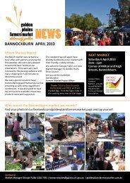 April 2013 Market Newsletter - Bannockburn - Golden Plains Shire