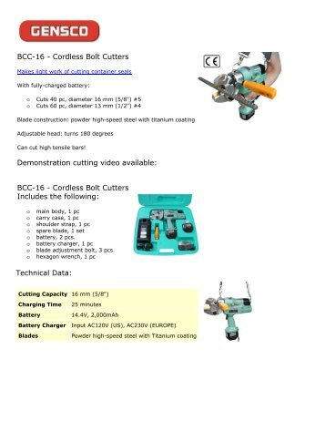 BCC-16 - Cordless Bolt Cutters Demonstration cutting video available