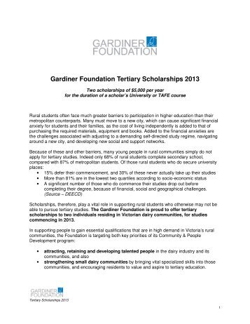 Scholarship Guidelines - Gardiner Foundation