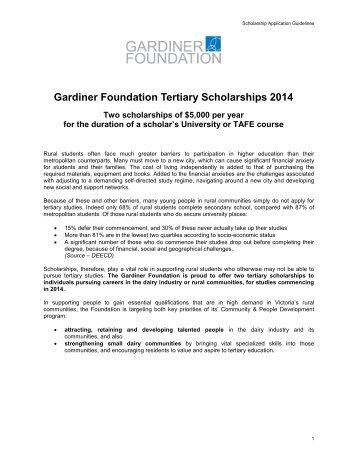 Gardiner Foundation Tertiary Scholarships 2014