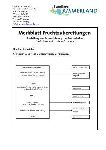 Lebensmittel - Merkblatt Fruchtzubereitungen - KDO-KIM
