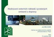 Hodnocení externích nákladů vyvolaných emisemi z dopravy