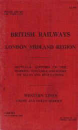 1960 Western Lines - Crewe and North Thereof - Limit Of Shunt
