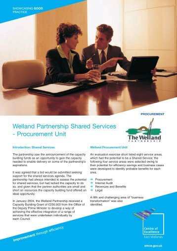 Welland Partnership Shared Services - Procurement Unit