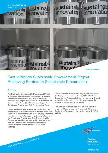 East Midlands Sustainable Procurement Project: Removing Barriers ...