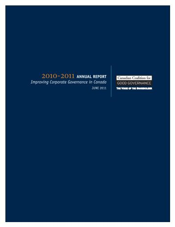 2010/2011 CCGG Annual Report - the Canadian Coalition for Good ...