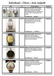 Sofortkauf – Uhren – kein Aufgeld - Auktionshaus St. Peter-Ording