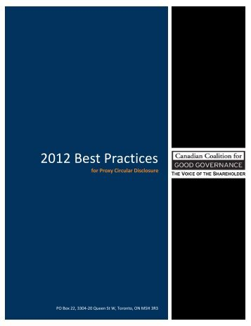 2012 Best Practices for Proxy Circular Disclosure - the Canadian ...