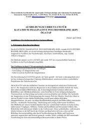 Ausbildungscurriculum für Katathym Imaginative ... - ÖGATAP