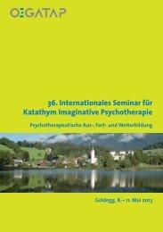 36. Internationales Seminar für Katathym Imaginative ... - ÖGATAP