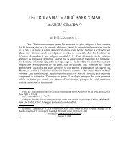 Le « TRIUMVIRAT » ABOÛ BAKR, 'OMAR et ... - Muhammadanism