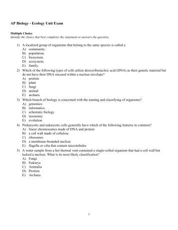 Ap biology essay questions 2010