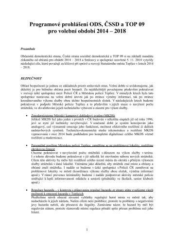 Programové prohlášení ODS, ČSSD a TOP 09 pro volební období 2014 – 2018