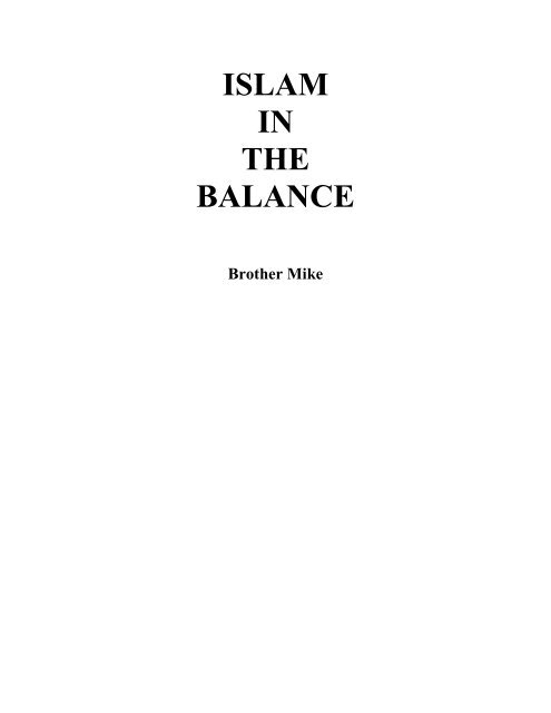 Islam in the Balance by Brother Mike - Muhammadanism