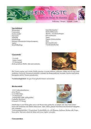 Spezialitäten Guacamole Birchermüsli  Currytaschen