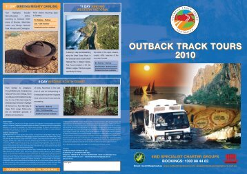 outback track tours 2010 4wd specialist charter groups bookings