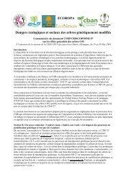 Dangers écologiques et sociaux des arbres génétiquement modifiés ...