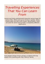 Travelling Experiences That You Can Learn From