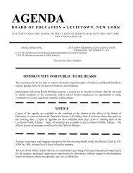 agenda board of education - Levittown Public Schools