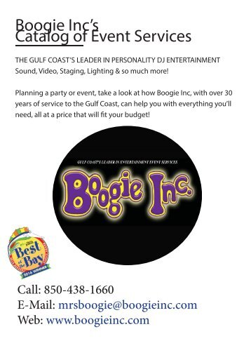 Boogie Inc's Catalog of Event Services - Class Reunions
