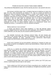 Palavras do Presidente Pietro ao Acad. Cláudio Tadeu Daniel ...