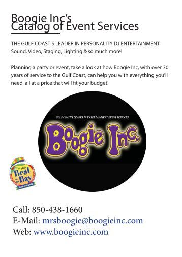 Boogie Inc's Catalog of Event Services - AV-Outdoor