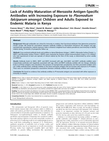 Lack of Avidity Maturation of Merozoite Antigen-Specific Antibodies ...