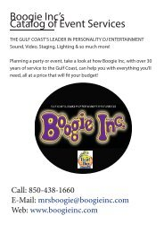 Boogie Inc's Catalog of Event Services - AV Only