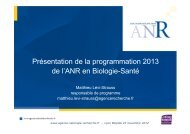 Télécharger la présentation de la programmation ANR 2013