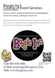 Boogie Inc's Catalog of Event Services - Weddings