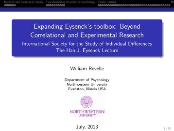 Expanding Eysenck's toolbox - The Personality Project