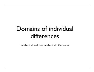Domains of individual differences - The Personality Project