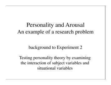 Personality and Arousal - The Personality Project