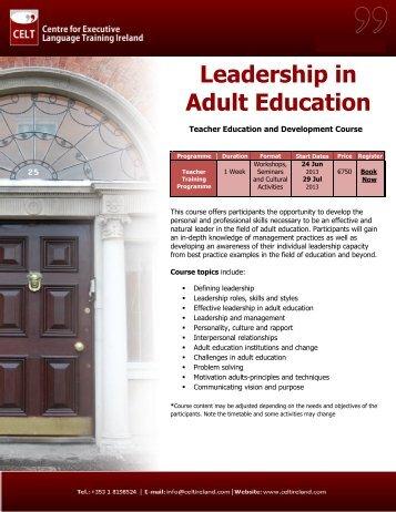 Leadership in Adult Education - Public Affairs Ireland