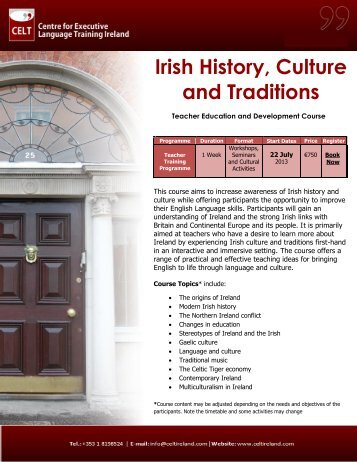 Irish History, Culture and Traditions - Public Affairs Ireland