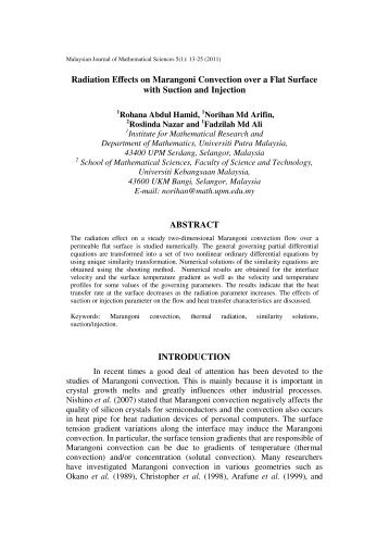 Radiation Effects on Marangoni Convection over a - Universiti Putra ...