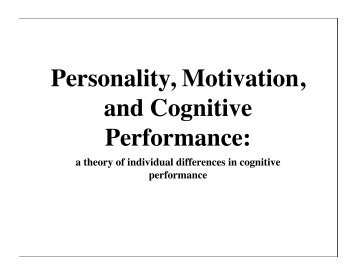 the effect of personality and motivation
