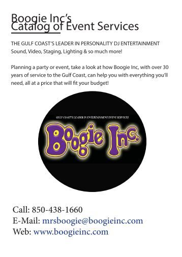 Boogie Inc's Catalog of Event Services