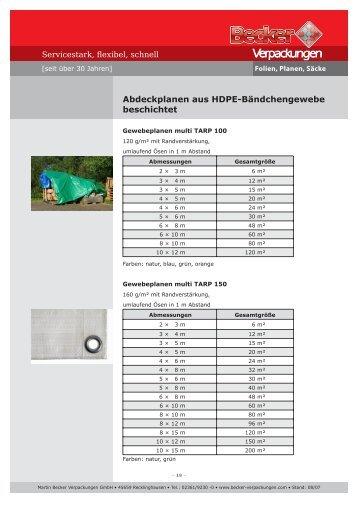 Abdeckplanen - Becker-verpackungen.de